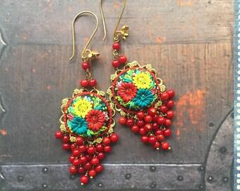 fiesta de bellas granadas - long festive mexican embroidery earrings - reserved for oh so lovely espie