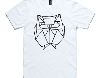 Owl T-Shirt by RockPaperHeart in black or white origami