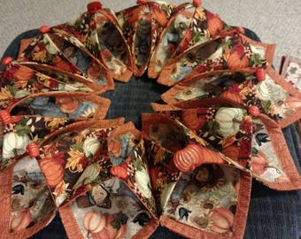 Pumpkin and scarecrow fold and stitch wreath