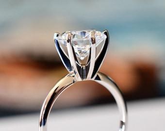 Lab-Created Diamond 3.05 Carat Round Brilliant D-Color Flawless 14k