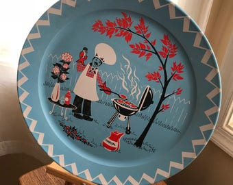 Vintage 1950's Large Round Metal Serving Tray w/ BBQ Theme