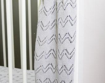 Organic Cotton Baby Blanket / Grey Baby Blanket / Grey Knit Cotton Blanket / Fine Baby Blanket / Gift for Baby Girl / Gift for Newborn
