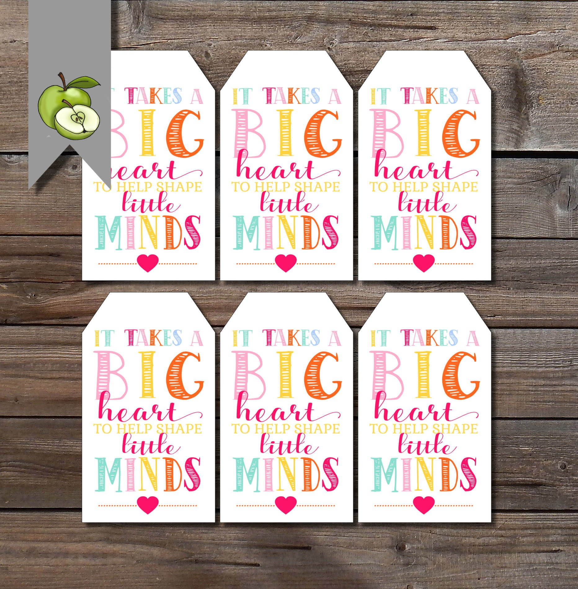 Teacher gift tags big heart gift tag teacher gift tags file this is a digital file negle