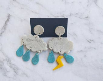 Rain Cloud Polymer Earrings