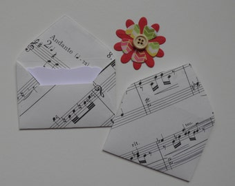 Sheet Music Mini envelopes with inserts, Paper ephemera, Paper embellishments, Journaling, Project Life, Little party favors, Bullet journal