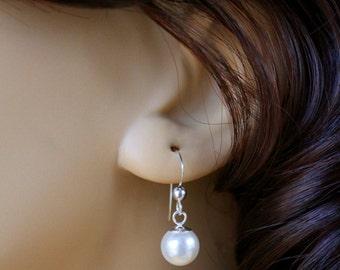 Pearl Earrings, Swarovski Pearl Earrings, Sterling Silver Earrings, Sterling Silver Pearl Earrings, Bridal Earrings, Wedding Jewelry