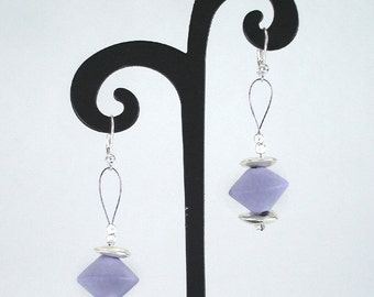 Ceramic jewelry Purple Earrings, Amethyst, porcelain Sterling Silver Lilac Minimalist Puff Flower Raw rough Gift for her