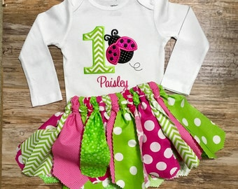Personalized Embroidered & Appliqued Ladybug  First Birthday Bodysuit or Boutique style shirt With Matching Tutu.  Green and Pink