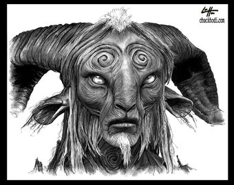 """Print 8x10"""" - The Faun - Pans Labyrinth Pale Man Fantasy Surreal Dark Art Guillermo del Toro Spanish Europe Horror Mexican Monster Goat"""