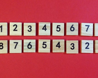 Number Scrabble Tiles - Pack of 100 - Mixed Bags of Wooden Tiles - 18.1mm x 20mm For Crafting