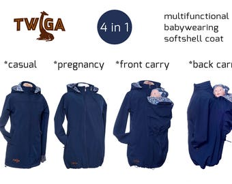 Babywearing/pregnancy coat, babywearing jacket, navy blue softshell. Maternity coat, 4in1, baby carrying coat, carrier jacket