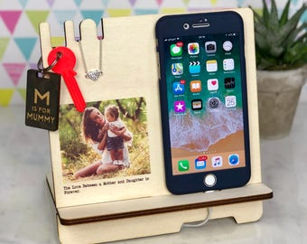 Personalised Gift for Her Woman Docking Station Mother Day Charging Station - Phone Stand Mom Daughter Iphone 7 8 Desk Organizer Birthday