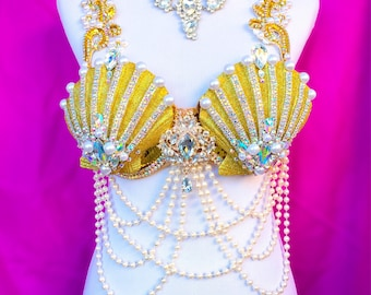 Rave bra- Mermaid rave bra, rave outfit, halloween, costume, edm, festival, disney cosplay, edc outfit, gold, sequins, bling, rhinestones