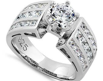Engagement  Ring Sterling Silver 925 Modern Round Cut