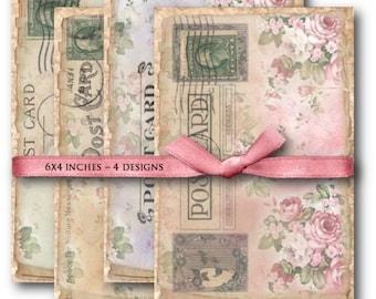 Shabby Chic Rose Postcards - Digital Collage Sheet Download -874- Digital Paper - Instant Download Printables