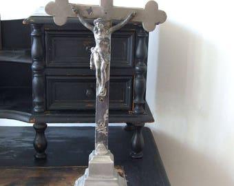 Vintage European altar CRUCIFIX, chromed crucifix, religious symbol, home altar cross, home shrine, standing altar crucifix, religious decor