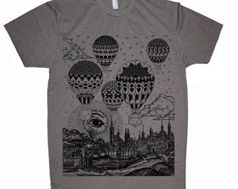 Men's GRAVITATION Hot Air Balloon Mandala Shirt Sacred Geometry Hand Screen Printed Psychedelic T-Shirt