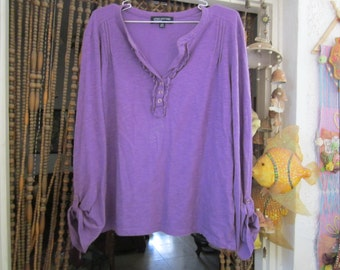 Purple Cotton V-Neck Shirt Top with Long Roll Tab Sleeves, Vintage - Large to XLarge