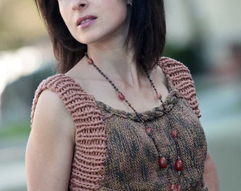 Summer hand knitted cotton top