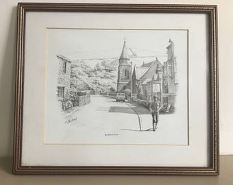 Vintage Print of a Pencil Drawing of Burnsall, England by G. Flitton