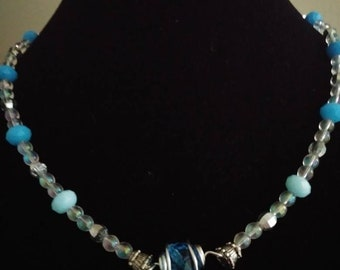 Wrapped blue bead necklace