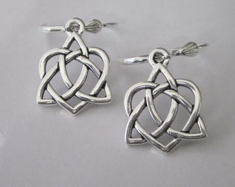 Silver Celtic Knot Earrings, Celtic Sisters Knot, Dangle Earrings, Sisterhood Heart Knot