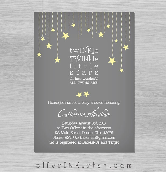 Twinkle twinkle little star twins baby shower invitation