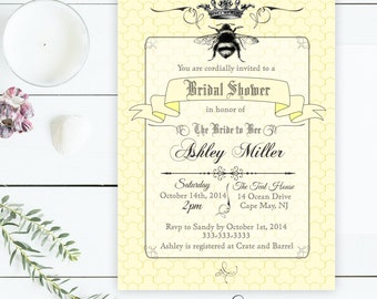 Bee Bridal Shower Invitation, Bride to Bee Bridal Shower Invite, Honeybee Bridal Invitation, Honeycomb Bridal Invitation, Bee and Crown