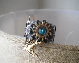 Steampunk Geared Adjustable ring (2) R1