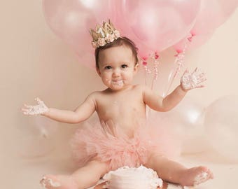 First Birthday|| mini Sienna crown gold || peach flowers lace crown headband|| photo prop || customize ANY AGE