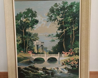 Paint By Number -   Waterfall Painting - Vintage - 60s decor - shabby chic paintbynumber No.101 cs