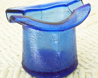 Small Frosted Blue Glass Hat/Ash Tray