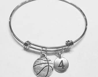 Bangle Bracelet, Basketball Bangle, Sports Number Bangle, Basketball Mom Gift Bracelet