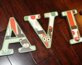 WOODEN WALL LETTERS Woodland Forest Friends Bedroom Baby Nursery Wall Name - Price Per Letter