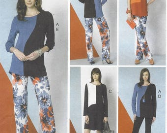 Vogue Sewing Pattern V9175 Womens Diagonal Seam Top, Dress & Stretch Knit Pants  Size 6 8 10 12 14 Bust 30 1/2 to 36 FF 5 Easy Pieces Vogue