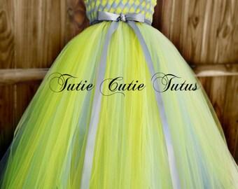 Demoiselle tissé robe Tutu en argent et jaune