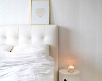 Bedroom Poster Gold Foil Print / Geometric Heart Poster / Gold Poster / Wedding Gift, Living Room Walls / Minimalist Poster Wall Decor