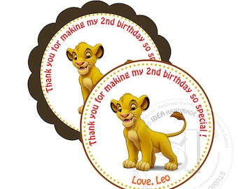 "Simba Printable 2.5"" Tags-Personalized  Scallop or Circle 2.5 inches Tags- Stickers, DIY (You Print) 2.5"" Thank you Tags"