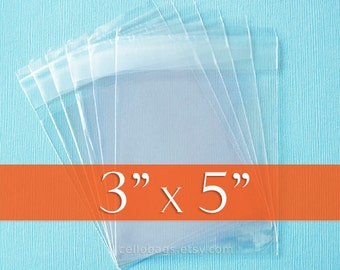 100 3 x 5 Inch Resealable Cello Bags, Clear Cellophane Plastic Packaging, Acid Free