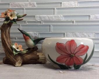 Amaryllis bowl, porcelain bowl, pottery bowl, Wheel thrown, Hand painted