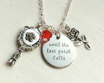 Beauty and the Beast charm necklace Rose Belle 'Until the last petal falls' Disney inspired