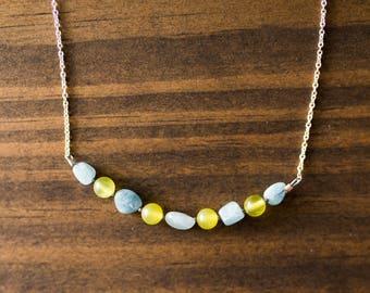 Aquamarine & Serpentine Chain Necklace