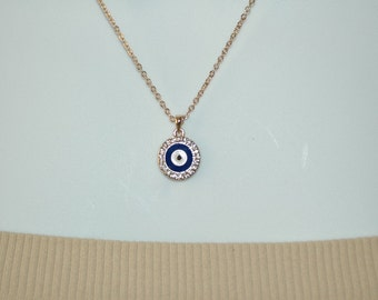 Evil Eye Necklace Charm, Blue Enamel Evil Eye Necklace, Crystal Evil Eye, Gift for her, Good Luck charm, Valentines gift