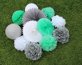 12pcs Mint Green Grey  White Hanging Paper Fans Tissue Paper Pom Poms Flower and Honeycomb Balls for Birthday Party Wedding Festival Decor
