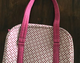 Pink and Gray Zipper Travel Case, Toiletry Bag, Cosmetics Bag, Purse with Handles, Small Shoulder Travel Bag