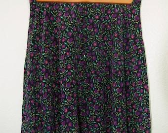 Vintage Mid-Thigh Short Silk Flower Floral Iris Print Black Skirt 1990s M