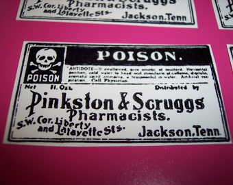 Poison Labels set of 6