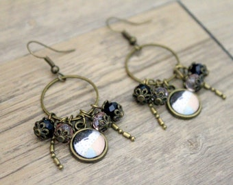 Earrings graphic Bohemian pastel pink, blue and black - cabochon