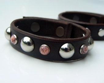 Brown Leather Bracelet, Leather Cuff Bracelet, Women's Biker Bracelet, Silver Dome & Pink Coral Stud Bracelet, Boho Gypsy Hippie Jewelry