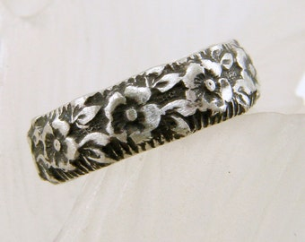 Flower Pattern Sterling Silver Toe Ring or Band Ring, Sterling Toe Ring, Silver Toe Ring, Handmade, Toe Rings